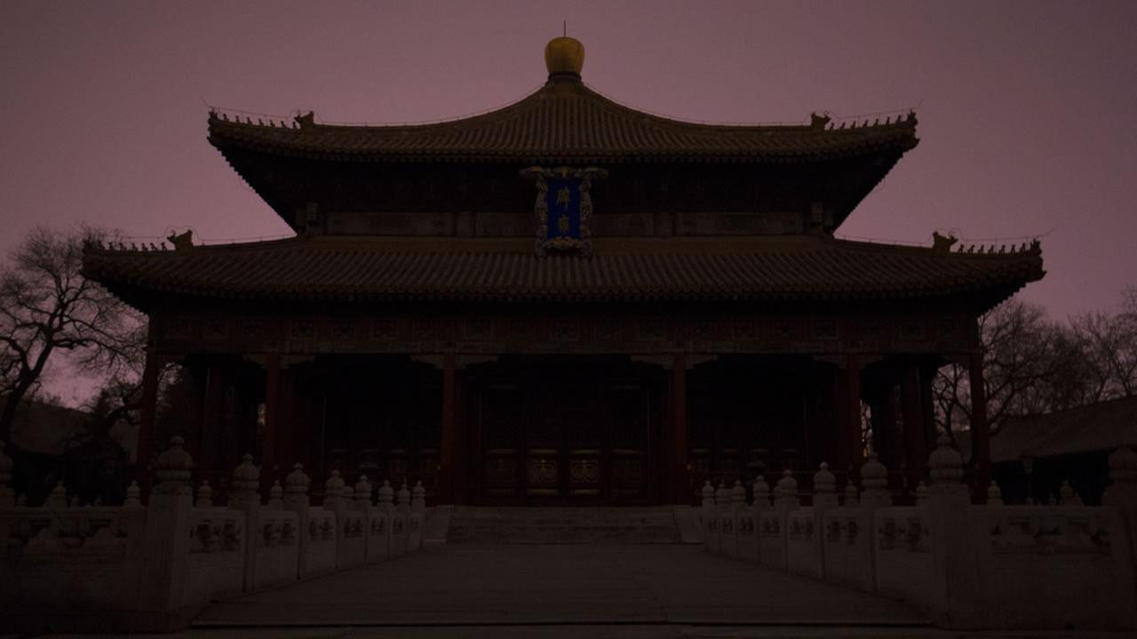 The Biyong Palace inside the Guozijian Imperial Academy in darkness after having its lighting switched off to mark Earth Hour in Beijing, Saturday, March 19, 2016.