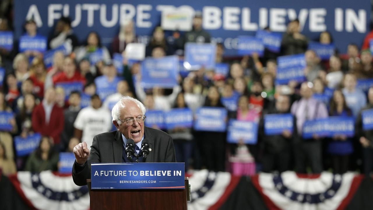 Democratic presidential candidate Sen. Bernie Sanders, I-Vt., speaks at a rally Friday, March 25, 2016, in Seattle.
