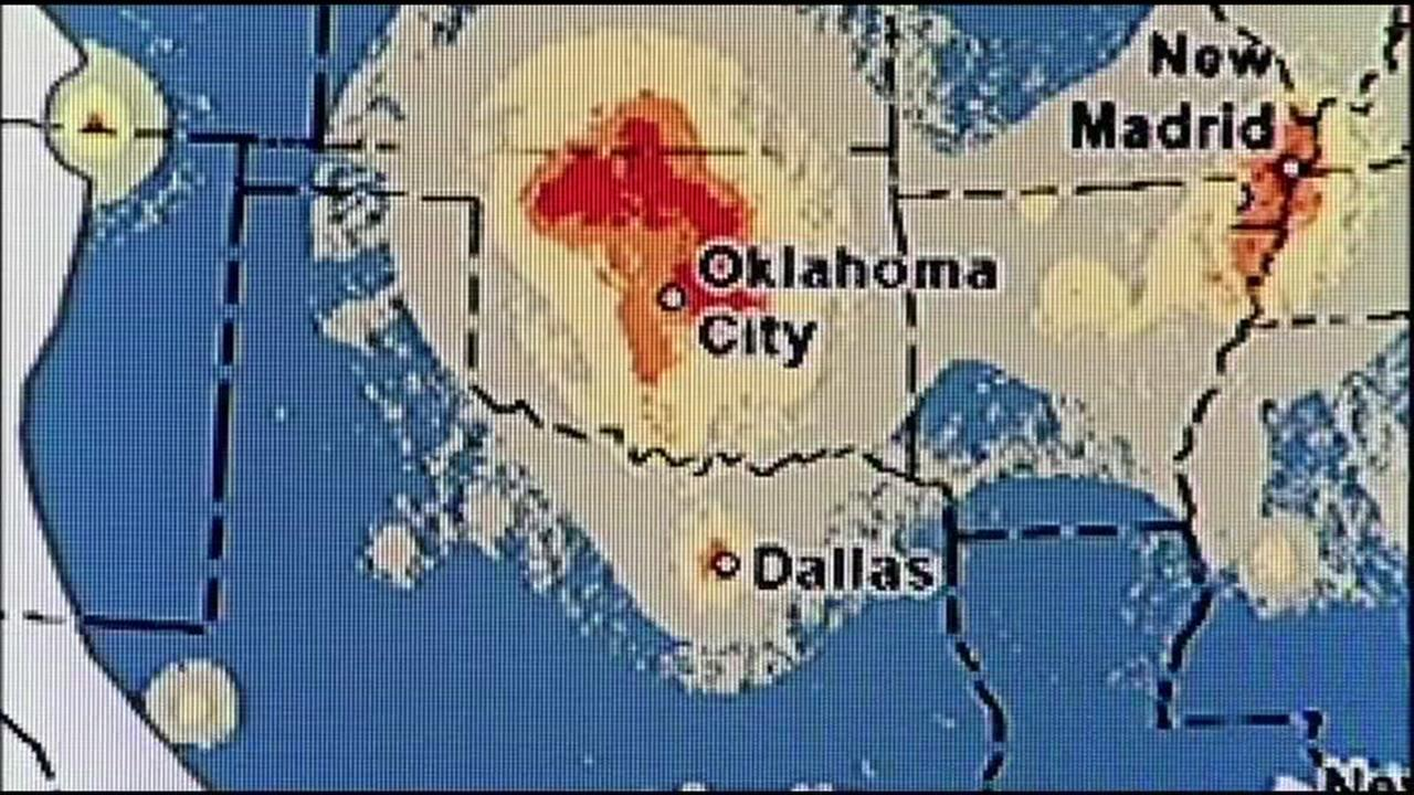 This map provided by the U.S. Geological Survey in Menlo Park, Calif. on Monday, March 28, 2016 shows an earthquake map in Oklahoma.