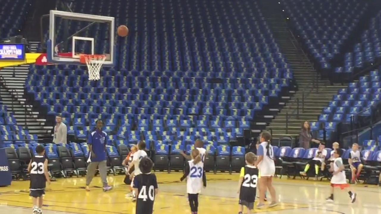 Dozens of kids participated in a Spring Break Skills Clinic at Oracle Arena March 29, 2016.
