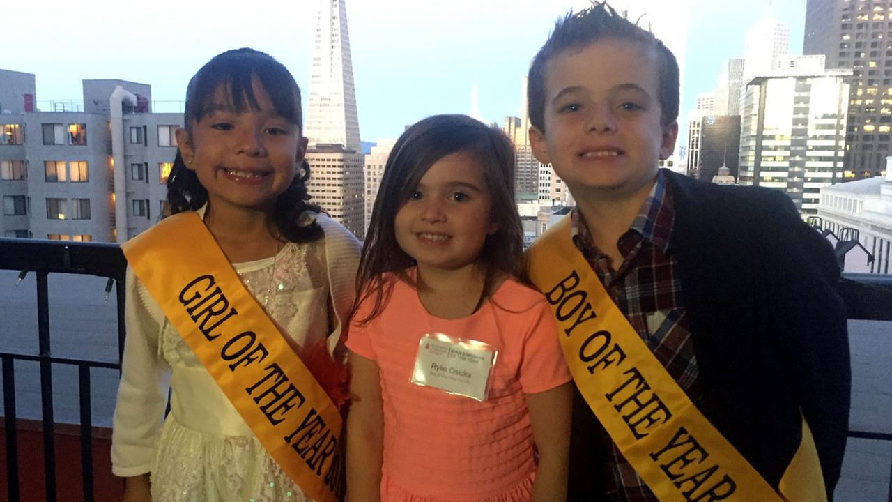 2016 LLS Girl of the Year and Boy of the Year: Edith Gonzalez of Oakland, and Preston Osycka of Walnut Creek (with Prestons sister Rylie in middle)