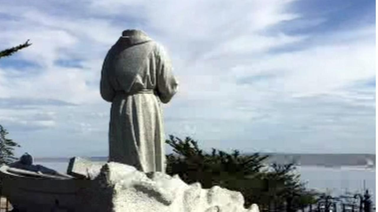 The Juniper Serra statue is seen after being decapitated in Monterey, Calif. on Saturday, April 2, 2016.
