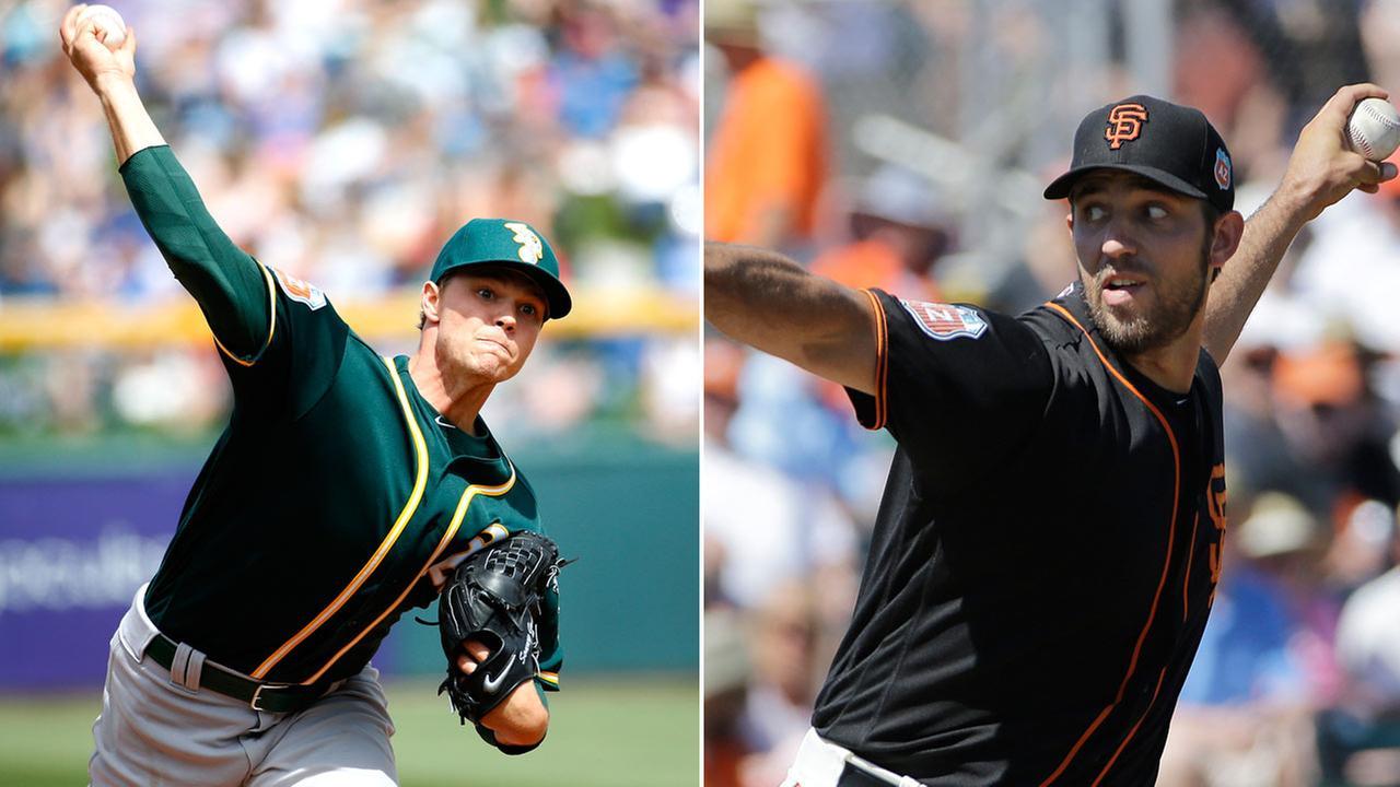 FILE -- Oakland Athletics pitcher Sonny Gray (left) and San Francisco Giants pitcher Madison Bumgarner (right).