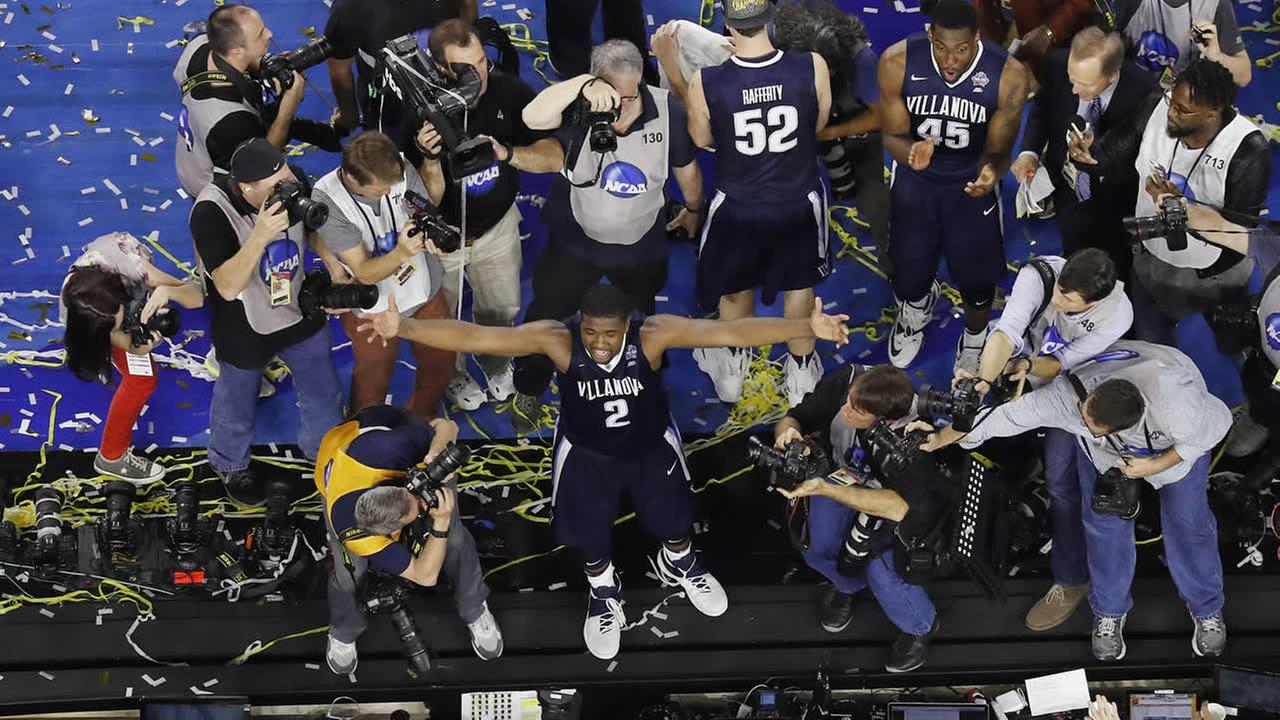 illanovas Kris Jenkins celebrates after the NCAA Final Four tournament college basketball championship game against North Carolina Monday, April 4, 2016, in Houston (AP Photo)