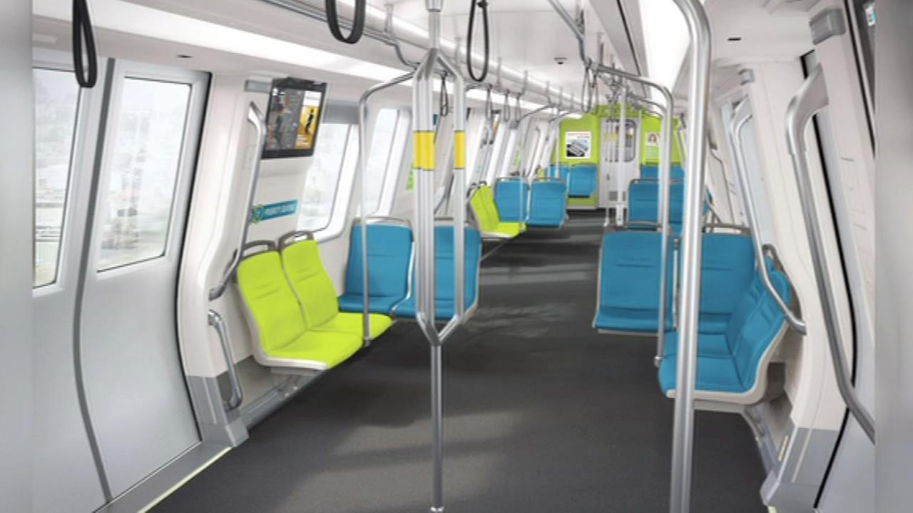 This image shows the new BART cars that are set to be released this fall.