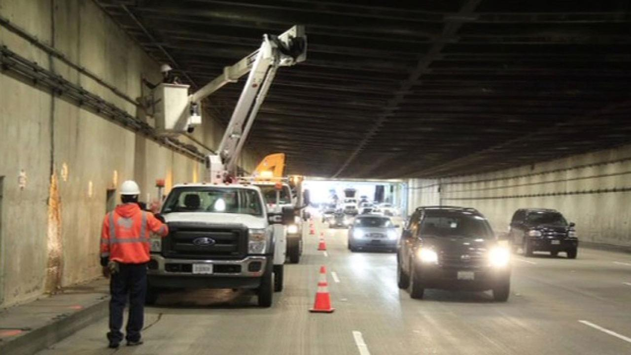 FILE -- Yerba Buena Island Tunnel on Bay Bridge inspected by Caltrans crews for weak spots.