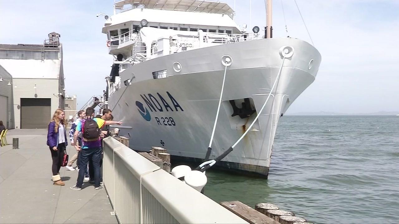 The NOAA Ship Reuben Lasker is seen docked outside San Franciscos Exploratorium on Thursday, April 4, 2016.