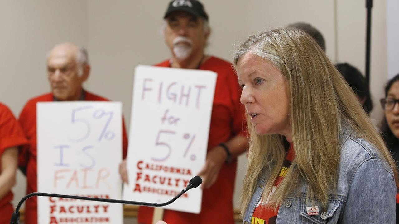 Jennifer Eagen, president of the California Faculty Association talks during a news conference at CSU, Sacramento, Monday, March 28, 2016. (AP Photo/Rich Pedroncelli)