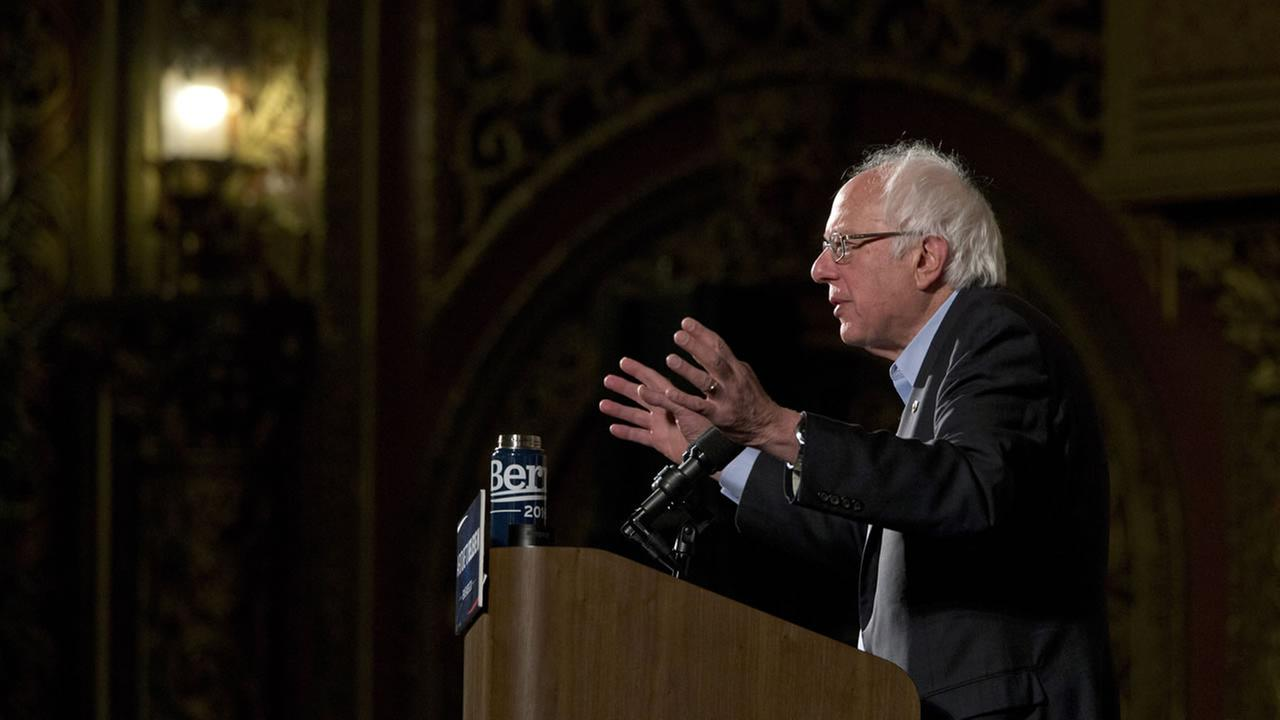 Democratic presidential candidate, Sen. Bernie Sanders, I-Vt., speaks during a campaign event, Saturday, April 9, 2016, in the Washington Heights neighborhood of New York.