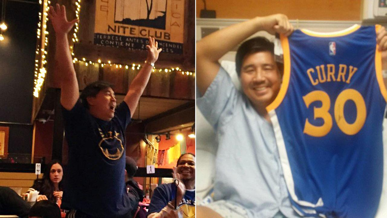 Tony Lee celebrates Warriors win on Sunday April 10, 2016, and Lee recovers in hospital after shark attack in October, 2015.
