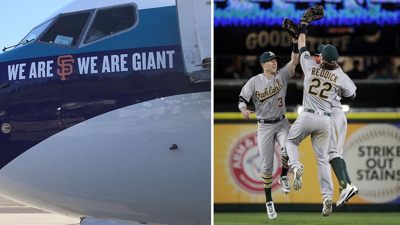 On the left is a plane with an SF Giants logo that the Oakland Athletics had to fly home on. On the right are As outfielders congratulating each other after the beat the Mariners.