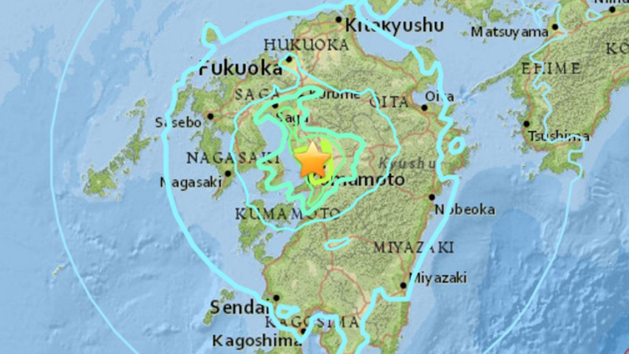 An earthquake with a preliminary magnitude of 6.4 has struck 5 miles southeast of Tamana, Japan, Thursday, April 14, 2016.