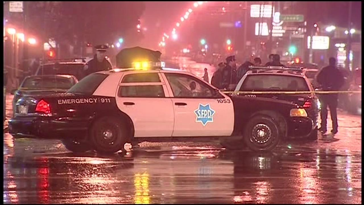 This undated image shows a San Francisco police car at the scene of a crime.