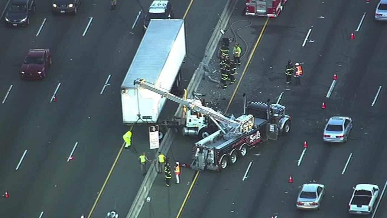 Multiple crashes block lanes of I-880 in Daly City, Wednesday, April 20, 2016.