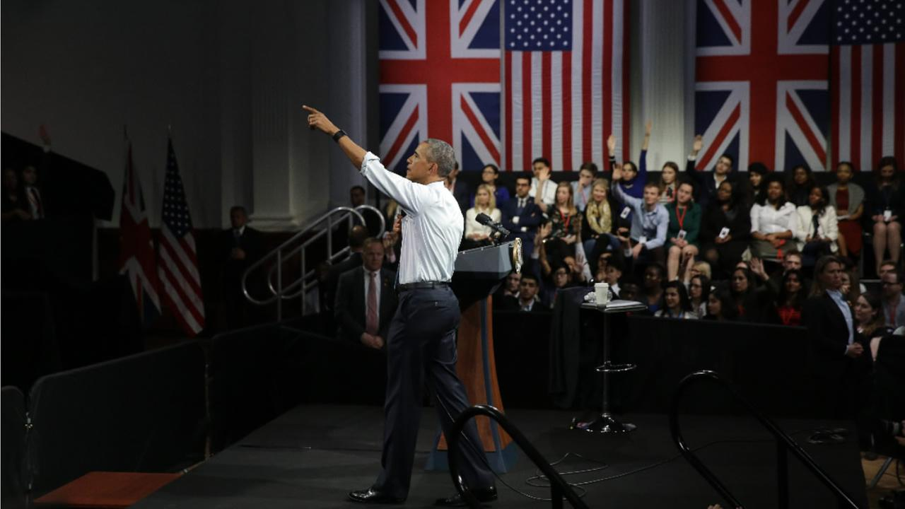 U.S. President Barack Obama takes a question as he speaks to a town hall meeting with an audience from the U.S. Embassys Young Leaders UK program in London, Saturday, April 23, 2016.
