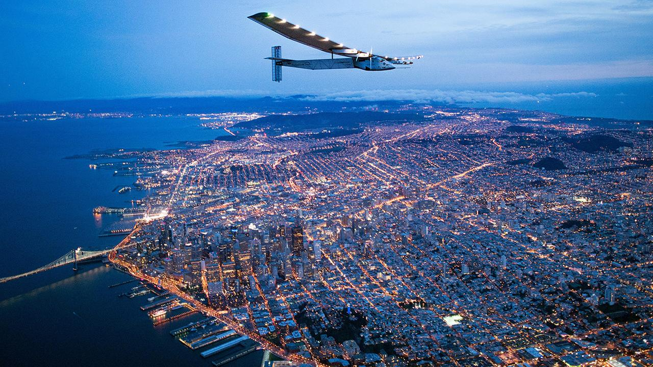 Solar Impulse 2 flies over San Francisco, Saturday, April 23, 2016. The solar-powered airplane, which is attempting to circumnavigate the globe to promote clean energy and the spirit of innovation, arrived after a three-day journey across the Pacific