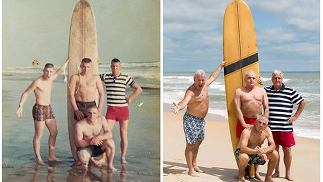 Four U.S. Marines gathered around a yellow longboard last weekend to recreate a moment from five decades earlier.