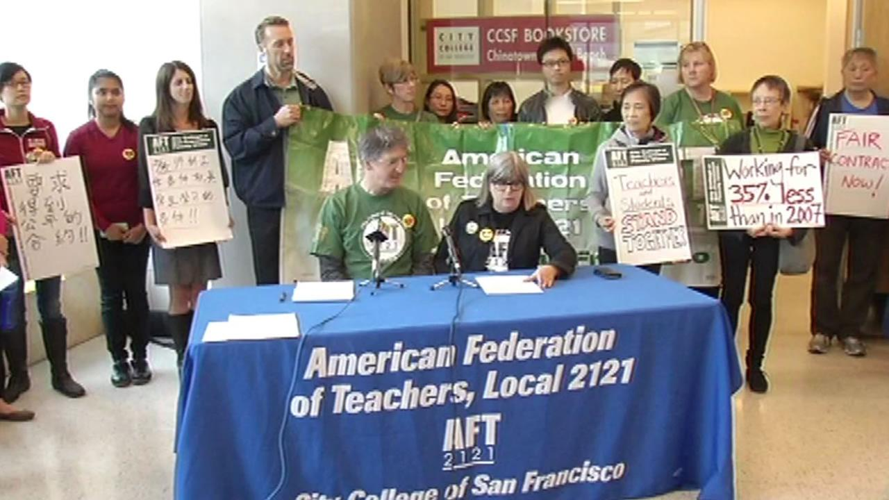 City College of San Francisco gathered at the Chinatown campus Tuesday, April, 26, 206 to announce they planned to go a one day strike  April 27.