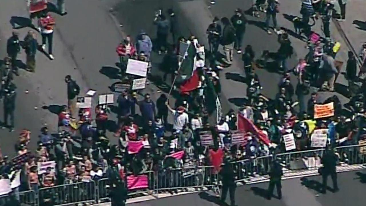 Donald Trump protesters blocking streets near Republican convention in Burlingam, California, Friday, April 29, 2016.