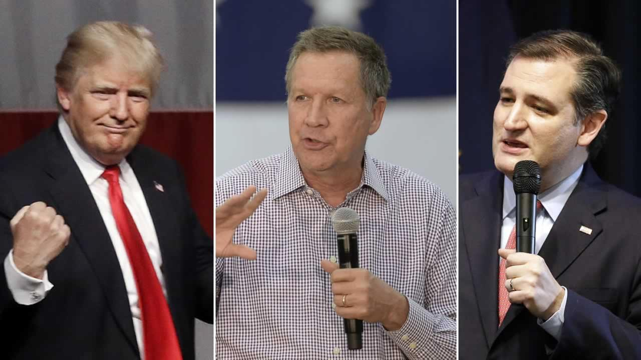 GOP presidential candidates Donald Trump, John Kasich and Ted Cruz