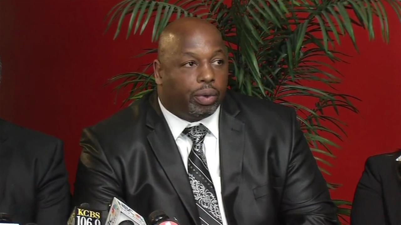 Former 49er star Dana Stubblefield speaks at a news conference at a church in San Jose, Calif. on Tuesday, May 3, 2016.