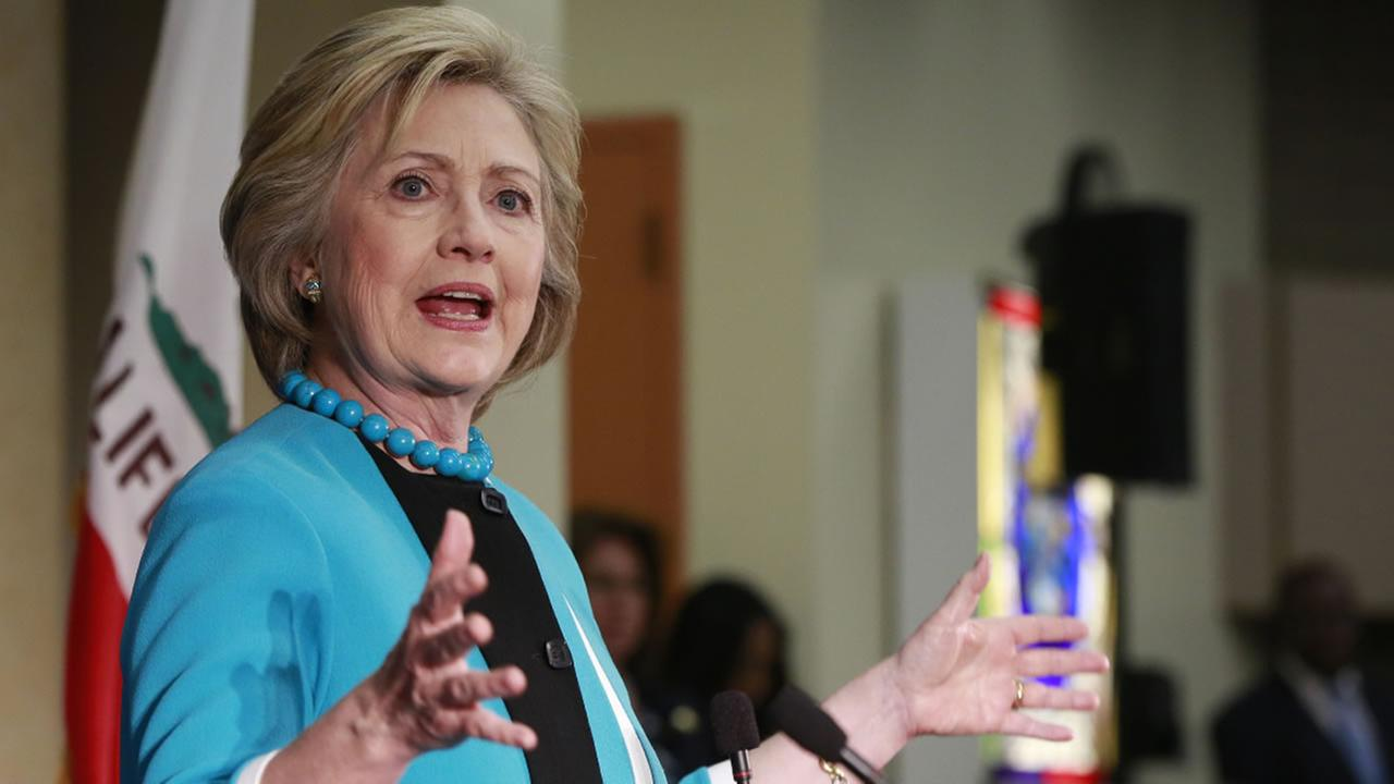 Democratic presidential candidate Hillary Clinton speaks during a campaign stop at the California African American Museum in Los Angeles, Thursday, May 5, 2016.