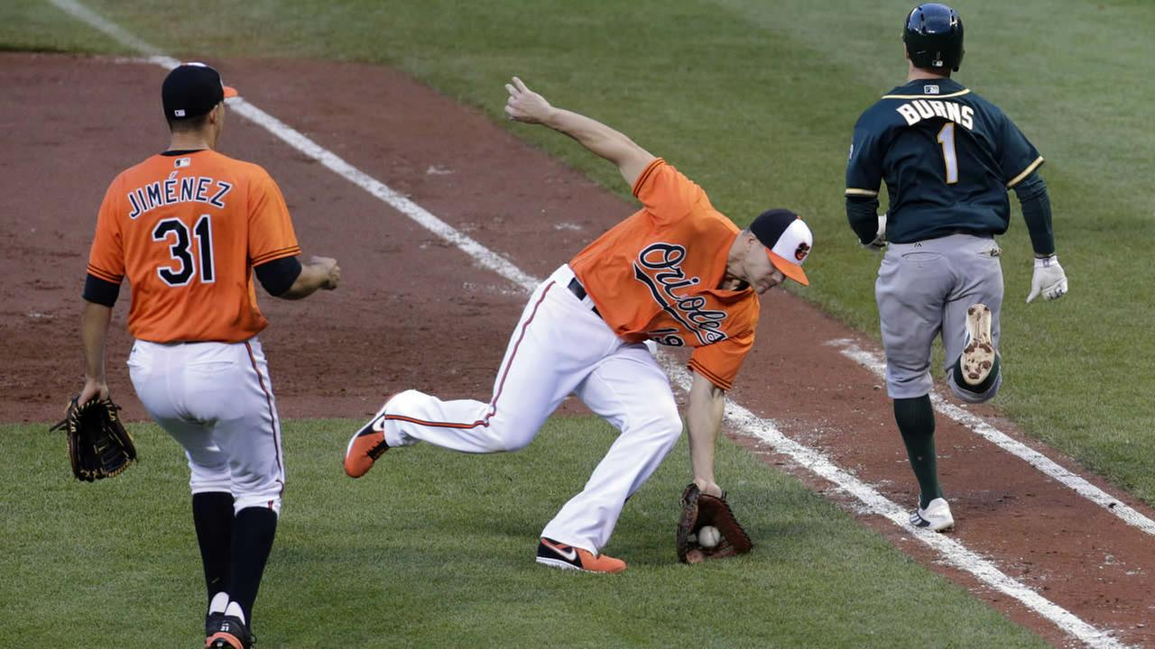 Baltimore Orioles first baseman Chris Davis fields a bunt by Oakland Athletics Billy Burns  in the third inning of the second game of a doubleheader in Baltimore, Saturday, May 7, 2016.