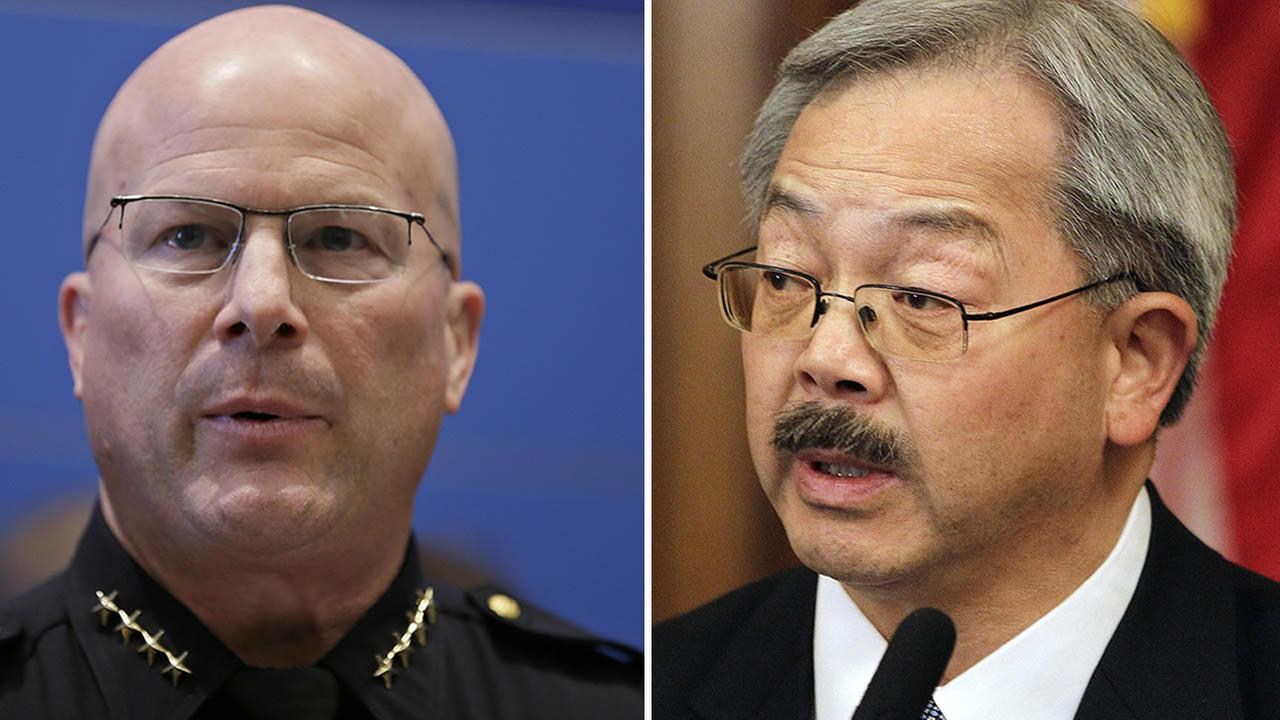 San Francisco Mayor Ed Lee and former San Francisco Police Chief Greg Suhr are seen in this undated image. (AP Photo)