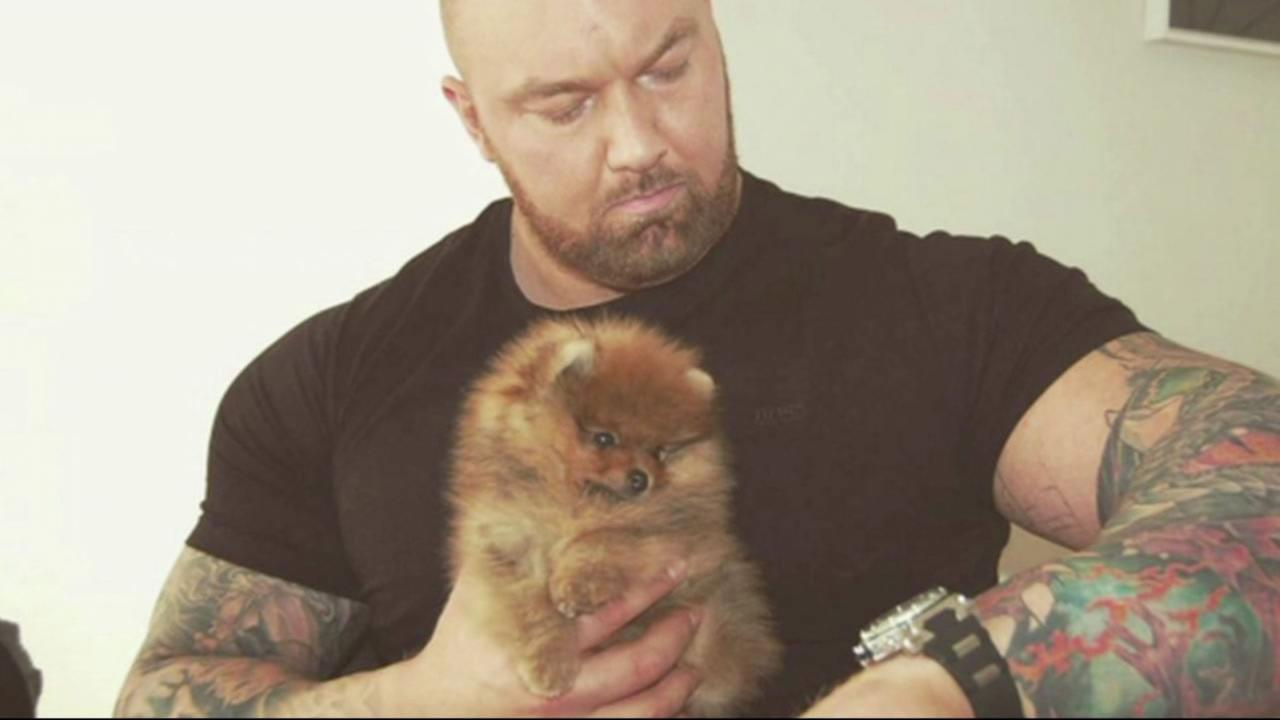 Hafþor Julius Björnsson poses with his pomeranian.