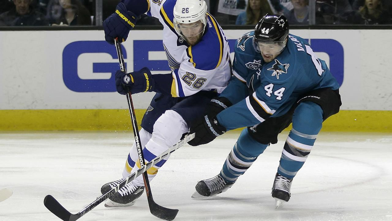 St. Louis Blues Paul Stastny (26) is defended by San Jose Sharks Marc-Edouard Vlasic (44) during Game 4 of the NHL hockey Stanley Cup Western Conference final May 21, 2016.