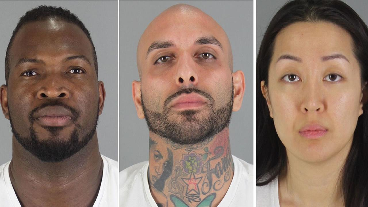 From left to right: 40-year-old Olivier Adella, 29-year-old Kaveh Bayat, and 30-year-old Tiffany Li have been arrested in connection with the death of a Millbrae man.