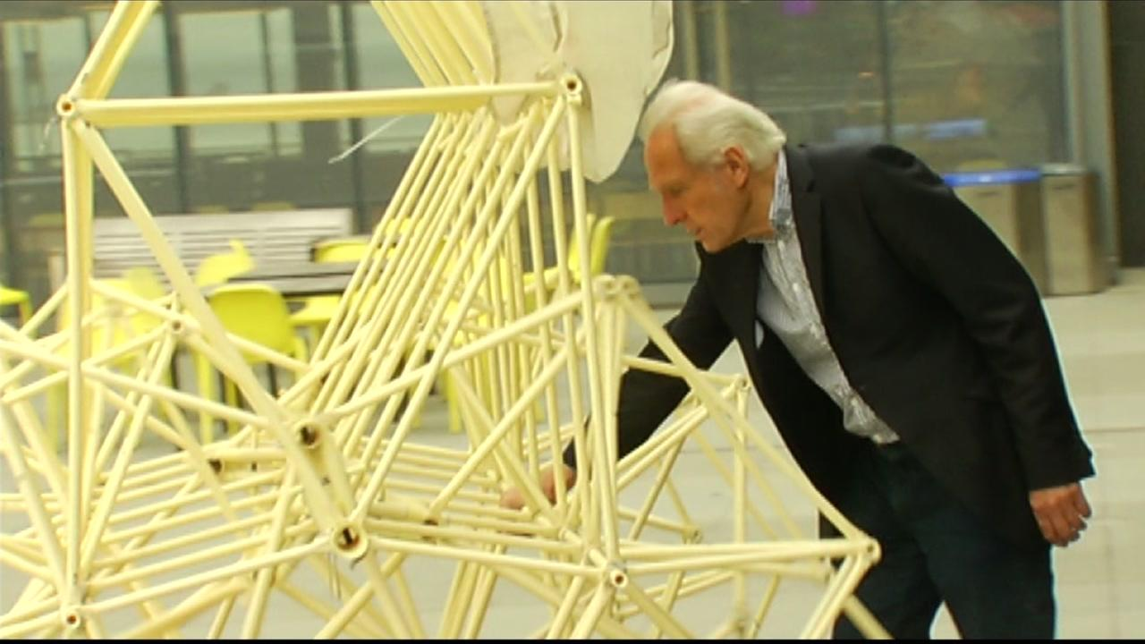 Artist Theo Jansen shows off his kinetic sculpture called a Strandbeest at San Franciscos Exploratorium on Wednesday, May 25, 2016.