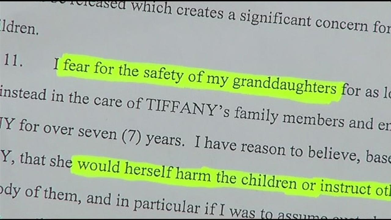 A highlighted document seen on Friday, May 27, 2016 in Redwood City, Calif. shows a woman asking for custody of her children.