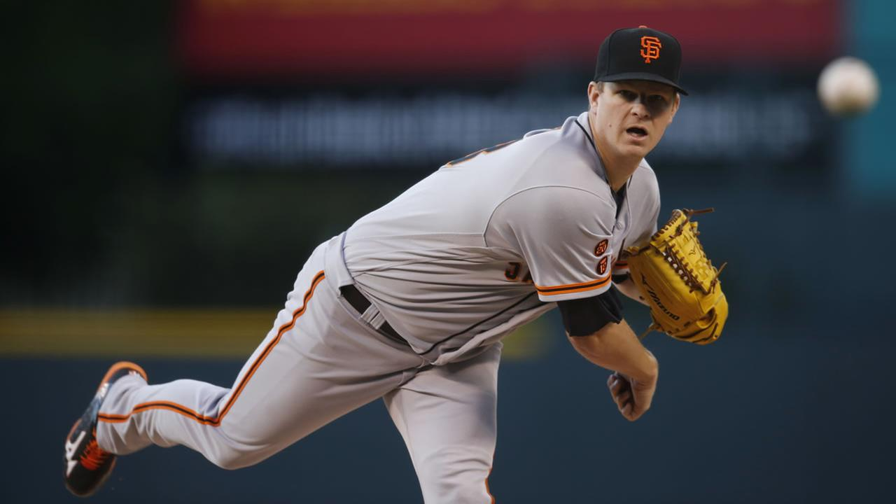 San Francisco Giants starting pitcher Matt Cain works against the Colorado Rockies in the first inning of a baseball game Friday, May 27, 2016, in Denver.