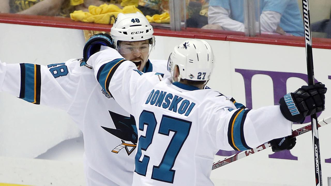 San Jose Sharks Tomas Hertl, left, celebrates his goal against the Pittsburgh Penguins with Joonas Donskoi in Game 1 of the Stanley Cup final series Monday, May 30, 2016, in Pittsburgh.