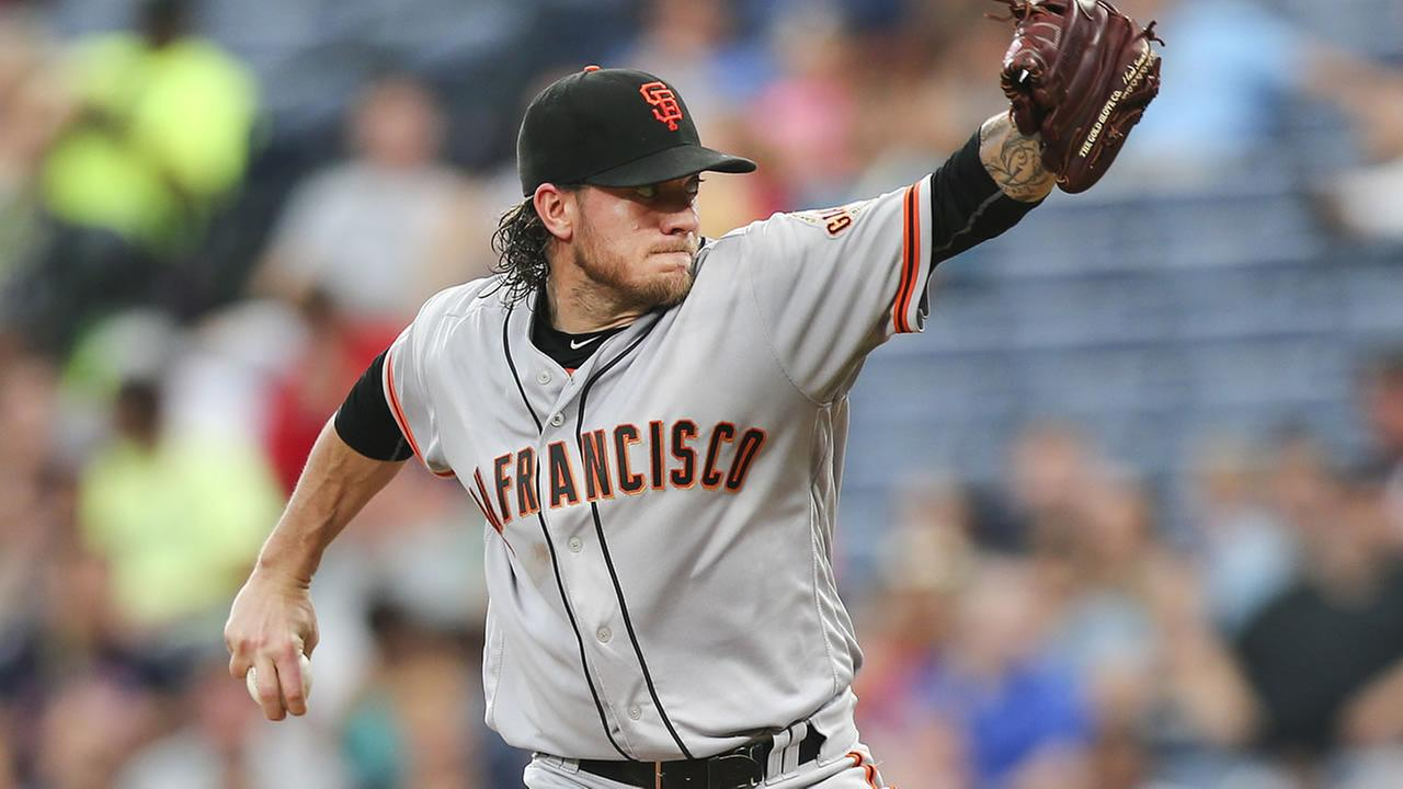 Giants Jake Peavy works in the fifth inning of a baseball game against the Braves on May 31, 2016, in Atlanta. (AP Photo/John Bazemore)