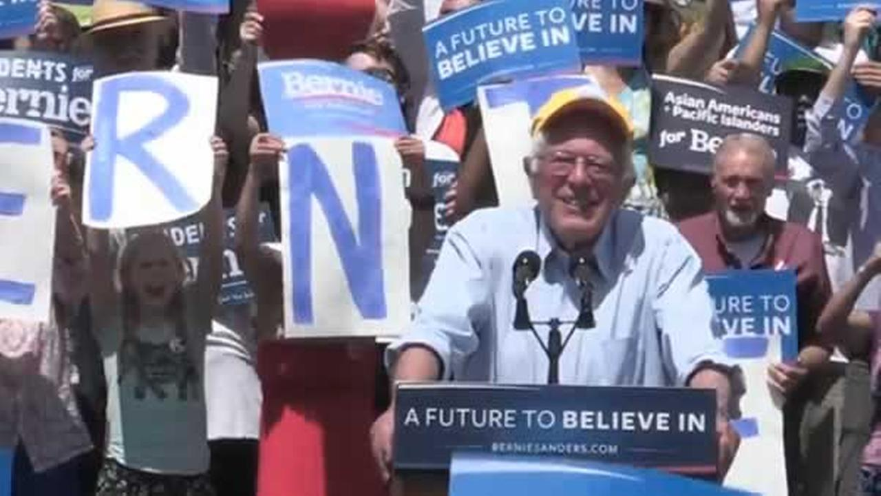 Bernie Sanders speaks at a rally in Palo Alto, Calif. on Wednesday, June 1, 2016.