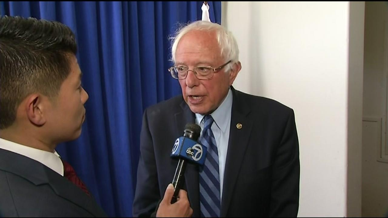 ABC7 News reporter Chris Nguyen spoke with Democratic presidential candidate Bernie Sanders one-on-one before he took the stage at an event in Palo Alto, Calif. on June 1, 2016.