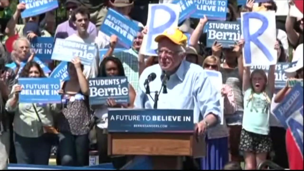 Democratic presidential candidate Bernie Sanders speaks at a rally in Palo Alto, Calif. on June 1, 2016.