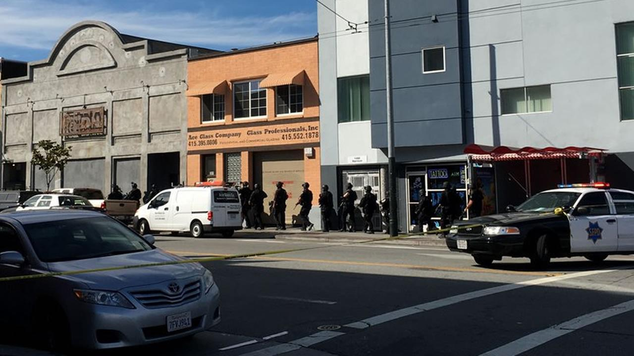 This image shows police outside of the DNA Lounge after a man called police and made a threat of he had a bomb and a gun on June 3, 2016 in San Francisco.