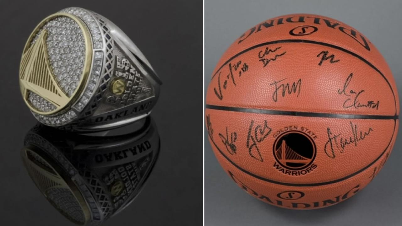 A championship ring and autographed basketball are two items featured in the Oakland Museum of Californias upcoming Warriors exhibit.
