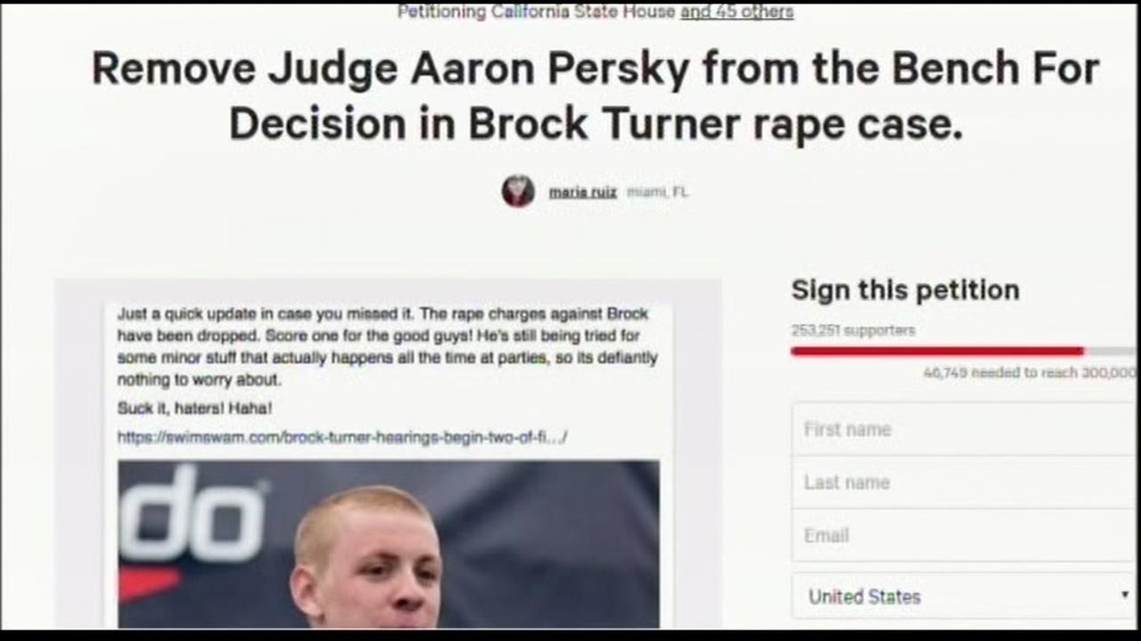 This undated image shows a petition to recall Judge Aaron Persky, the judge in the Stanford sexual assault case.