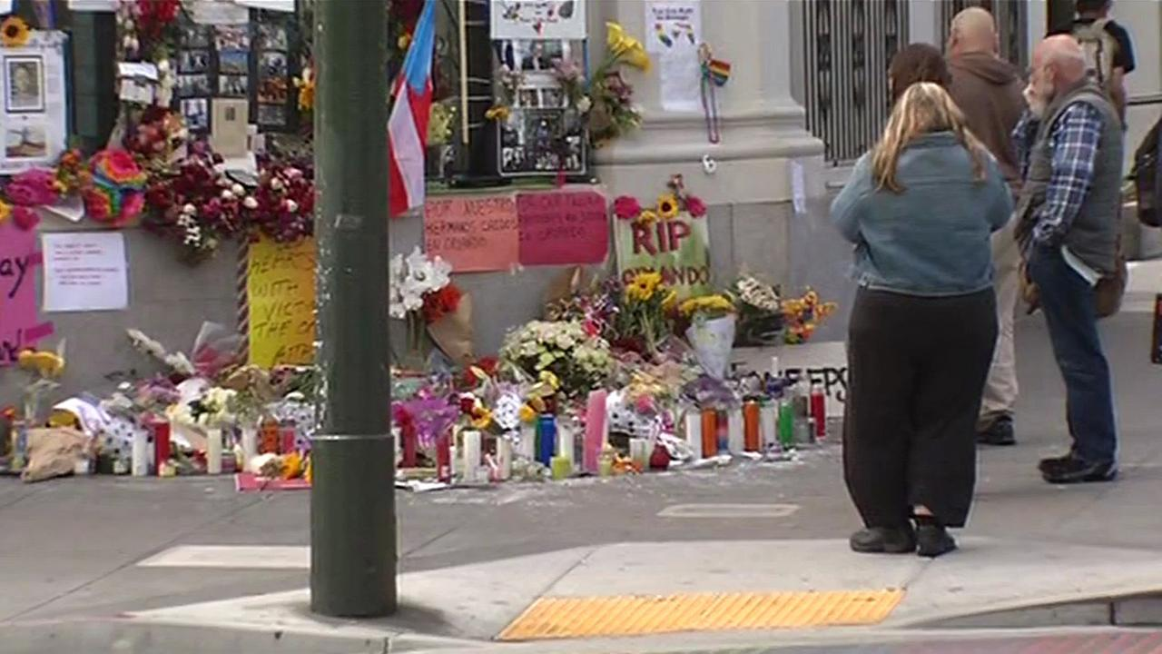 Memorial for Orlando shooting victims in San Franciscos Castro District, Monday, June 13, 2016.