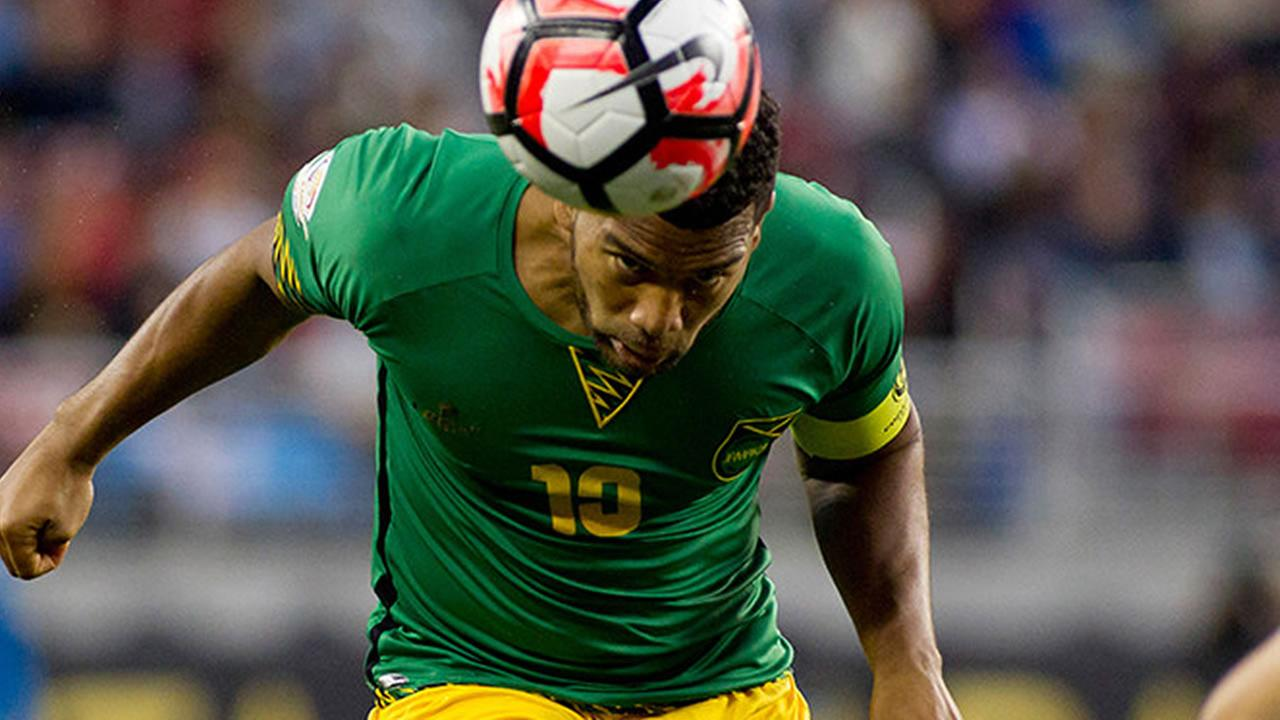 Jamaicas Adrian Mariappa (pictured) heads the ball in a Copa America Centenario match against Uruguay on June 13, 2016, in Santa Clara, California, USA.