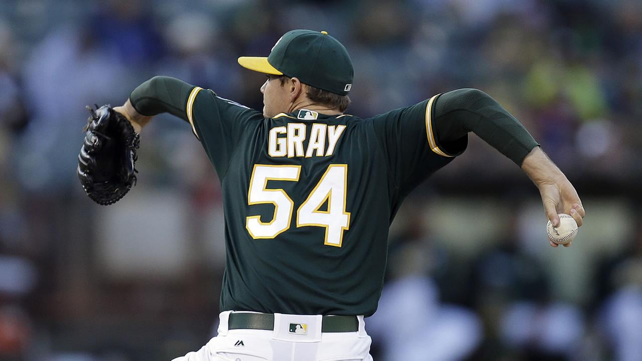 Oakland Athletics pitcher Sonny Gray works against the Texas Rangers in the first inning of a baseball game Wednesday, June 15, 2016, in Oakland, Calif.