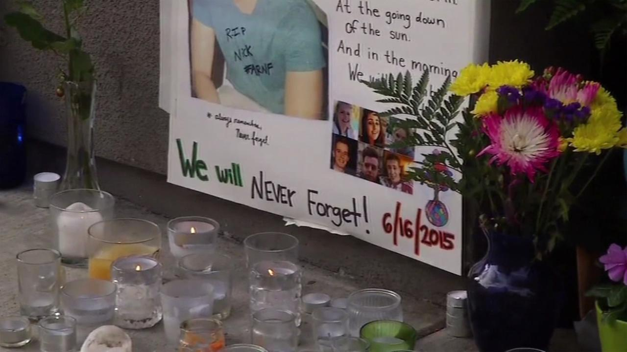 This image shows a memorial created in front of the site of the balcony collapse in Berkeley, Calif. on June 16, 2016.