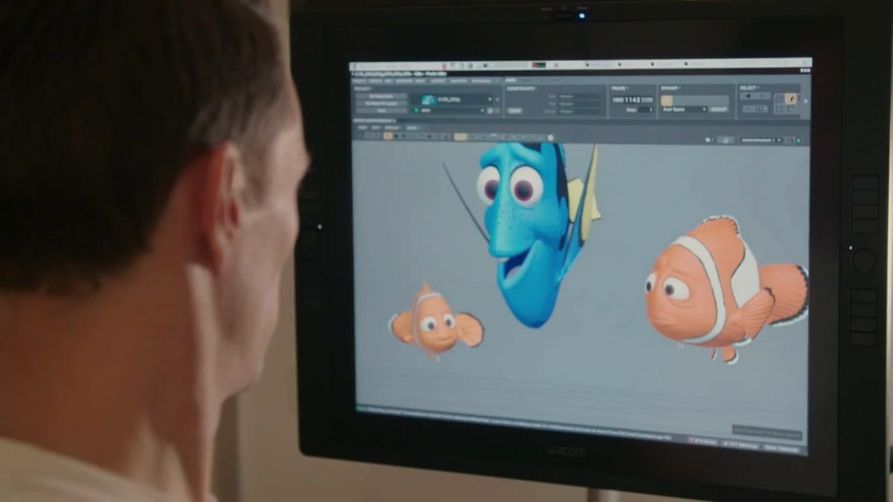 This undated image shows an animator working on Finding Dory at Pixar Animation Studio in Emeryville, Calif.