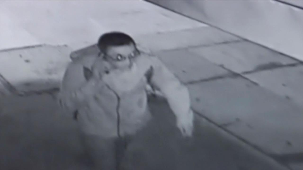 This image shows a still from surveillance video of a possible suspect in a stabbing outside of a bar in San Franciscos Sunset District.