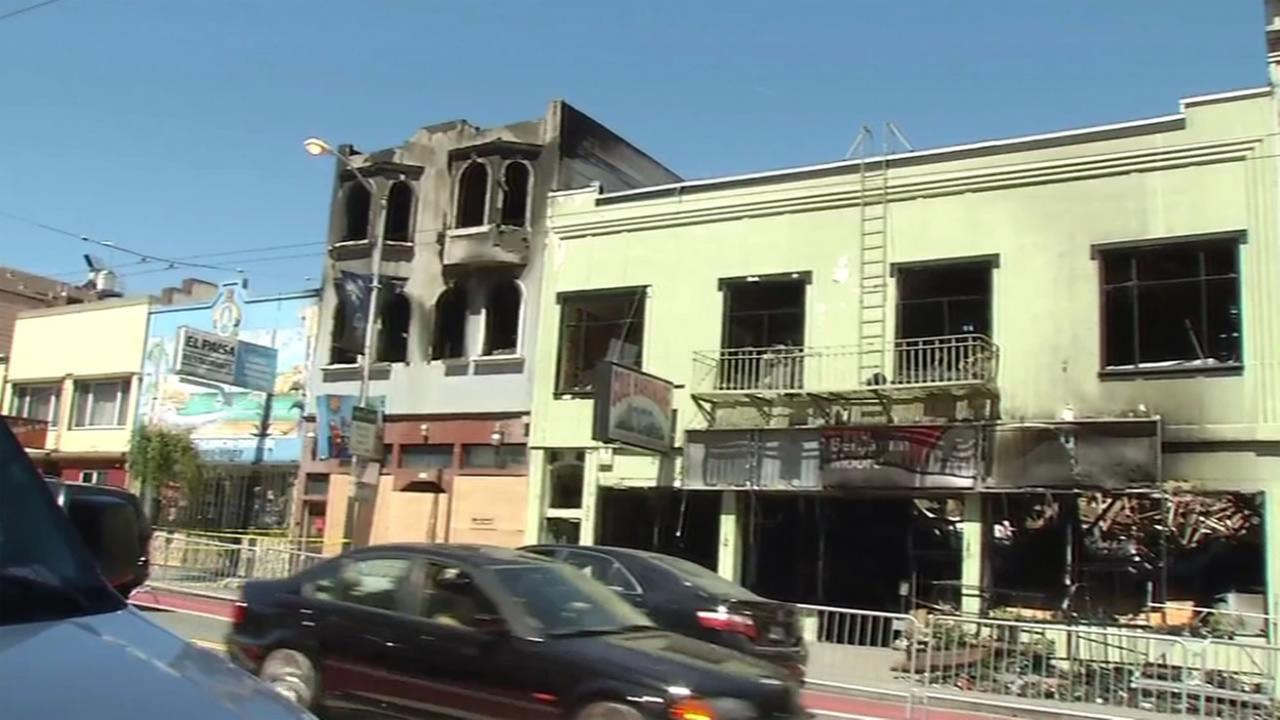 A five-alarm blaze displaced 58 people in San Franciscos Bernal Heights neighborhood on Saturday, June 18, 2016.