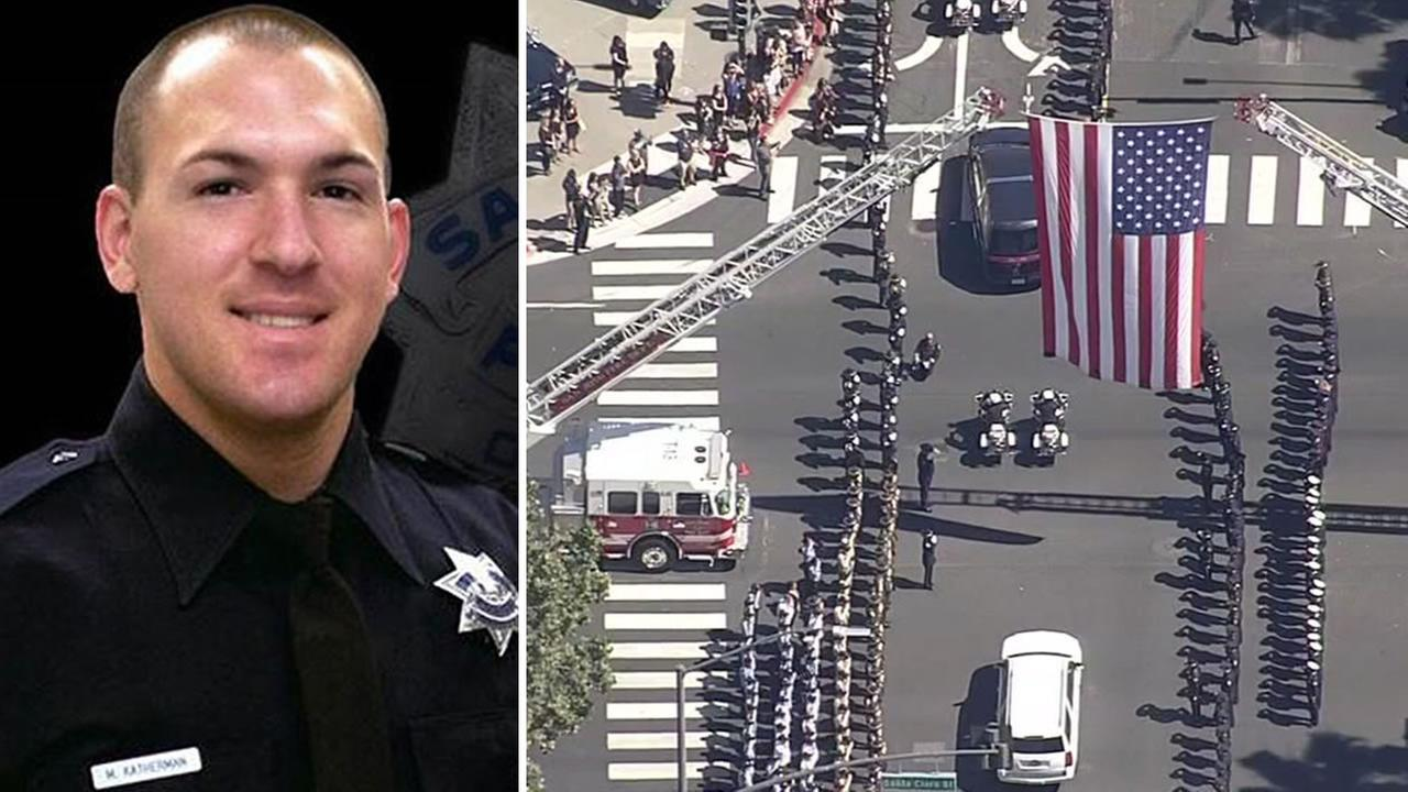 Fallen SJPD Officer Michael Katherman was honored at a public memorial service in San Jose, Calif. on June 21, 2016.